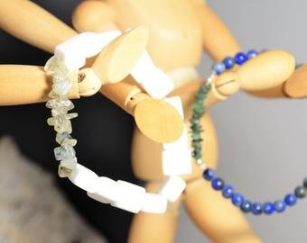 White Calcite, Green Prehnite Stretch Bracelet, Crystal Healing, Unisex Beaded, Men, Women, Layer, Beach
