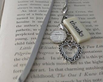 THANKS Bookmark with non-custom Mini Domino, silver-tone charm, and non-custom glass gem charm Thank You Kristin Victoria Designs