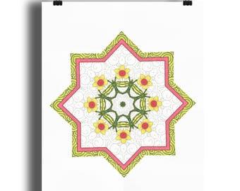 Elsie mandala 3 A4 print, Floral print, mandala style print, Art Nouveau style floral print, star floral print, from an original drawing