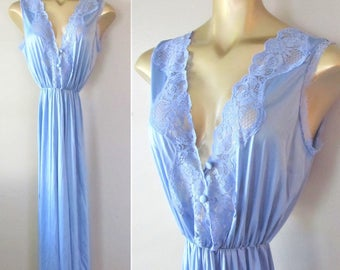 """Vintage 1970's Blue Lingerie Negligee' Nightgown / Lace Trim Long Length Pant Nightie / """"Old Hollywood"""" Style Size Large"""