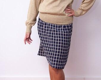 Vintage Midi Skirt - 90s Navy Blue Skirt - Elastic Waist Vintage Skirt - Grid Print Navy and White Skirt - Leslie Fay Dresses - Size Medium