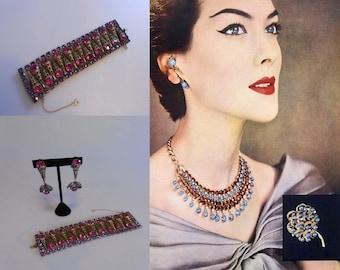 I Just Cannot Choose - Vintage 1950s Magenta & Purple Rhinestone Gold Filigree Bracelet Earring Set