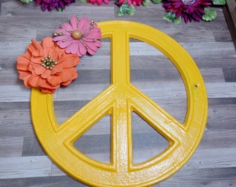 Yellow Orange Floral Peace Sign - Cast iron Peace Sign - Wall Decor - Home decor