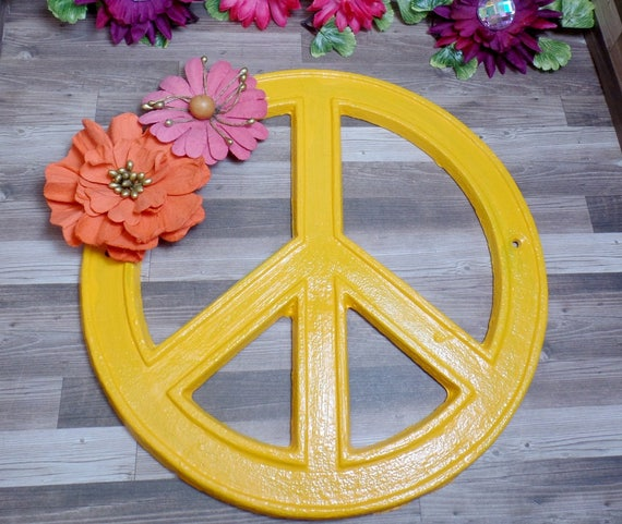 Yellow Orange Floral Peace Sign - Cast Iron Peace Sign - Wall Decor - Home Decor - Hippie Decor - Hippie Peace Sign