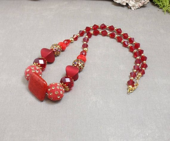 Red Romantic Boho Necklace - Red Necklace - OOAK - Valentines - Statement Necklace - Free US Shipping - Christmas Necklace