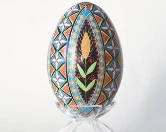 Pysanka Ukrainian Easter egg decorated goose egg shell batik egg summer birthday gift wedding gift for couple anniversary gift parents