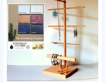 Large Tall Jewelry Organizer, Long Earring Display, Necklace Hanger Tree, Bracelet & Ring Holder, Wooden Stand, Craft Show Retail Fixture