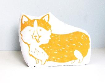 Corgi Dog Shaped Animal Pillow. Hand woodblock printed. Choose ANY Color. Made to order