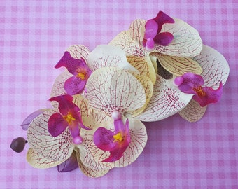 Unique pink and yellow orchid hair flower clip wedding bride retro vintage 50s rockabilly hairflower pin up