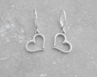 HEART EARRINGS - dainty earrings, leverback earrings, dangle earrings, everyday earrings, minimalist jewelry, lightweight earrings