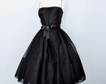 Vintage 1960s Party Dress...SOPHISTICATED MISS Black Organza Party Dress with Lace Jacket