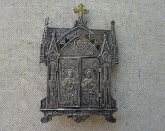 Antique French Sacred Heart of Jesus and Mary Altar Shrine - Beautiful Antique Patina