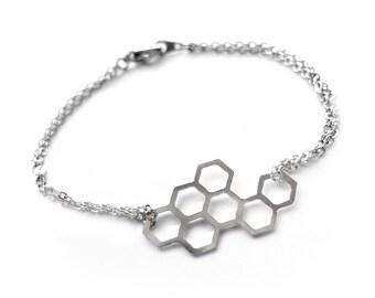 Gardening Gift, Coworker Gift, Nature Lovers Gift, Dainty Modern Bracelet, Outdoors Gift, Geometric Bracelet, Silver Honeycomb Bracelet