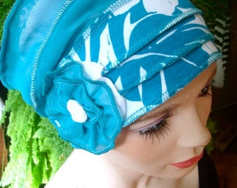 womens hat chemo hat headwear chemo gift soft hat turquoise white beanie womens cloche flapper