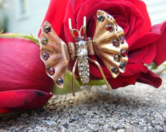 1930's Vintage Signed Reis Co. Rose Gold Filled Rhinestone BUTTERFLY Fur Dress Clip Pin Clamber Brooch 12k Filled