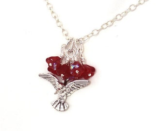 Hummingbird Necklace - Ruby Red Czech Glass Flowers, Bird Pendant, Nature Jewelry, Adjustable Length  Chain 16.5 to 18 inches