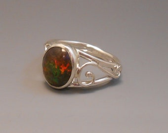 Opal Genuine Recycled Boulder Opal Sterling Silver Ring October Birthstone