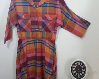 Vintage 70's or 80's Plaid Dress by Charlie California, Full Skirt, Size Large