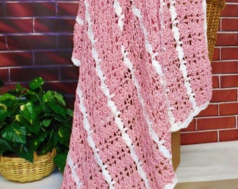 Pink Crochet Blanket Striped Afghan Lap Throw Gift For Women Girls Teens, Soft Pink Knitted Blanket