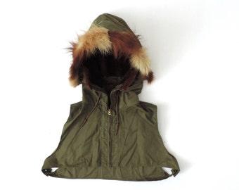 Parka Hood US Navy Bureau of Aeronautics Willis and Geiger Fur Hood Vest