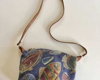 vintage tapestry bag - BY THE SEA novelty print purse