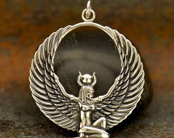 Sterling Silver Egyptian Winged Goddess Charm