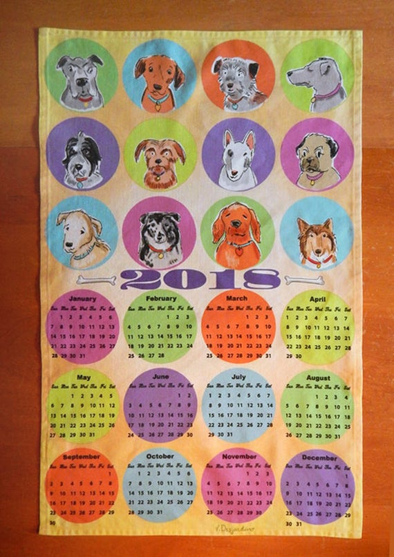 2018 calendar funny dogs linen cotton kitchen towel wall