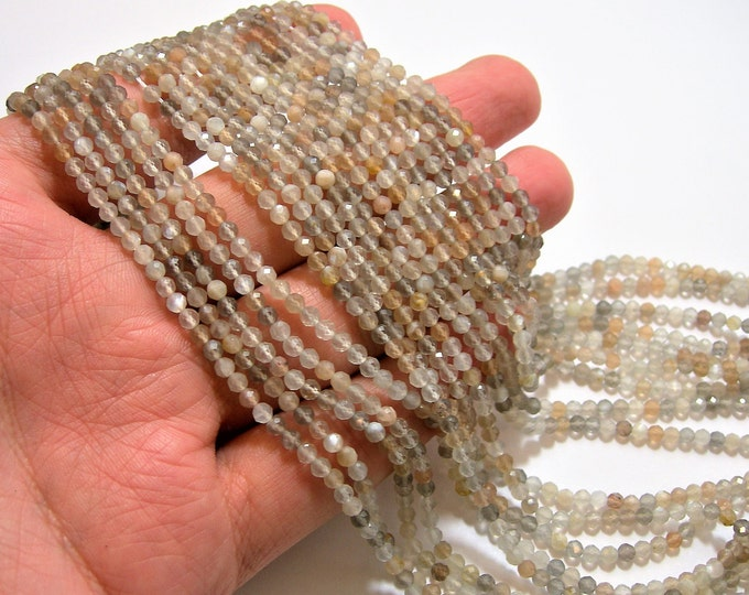Moonstone - 3mm faceted round beads - 1 full strand - 128 beads - Mix grey beige Moonstone  - AA Quality - PG86