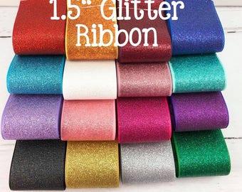 "3yd 1.5"" Glitter Ribbon, Full Glitter Ribbon, Sparkle Ribbon"