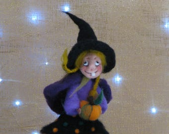Halloween witch with pumpkins and black cat Needle felted art doll Halloween decoration Kitchen witch