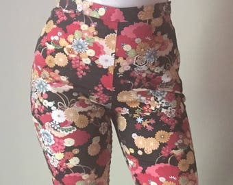 Floral Capris | M ultra high waist colorful floral asian inspired flower pattern print womens cropped pants pocketless vintage 90s y2k 7 8 9