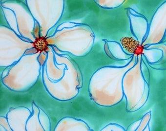 silk scarf hand painted crepe large long Sugar Magnolia unique luxury wearable art women seafoam blue white