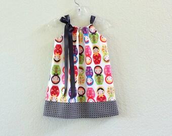 New! Girls Matryoska Dolls Pillowcase Dress - Russian Nesting Dolls - Little Girls Sun Dress - Sizes 12m, 18m, 2T, 3T, 4T, 5, 6, 8 or 10