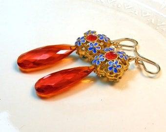 Orange Quartz Briolette and Cobalt Floral Enamel Earrings with Gold Filled Earwires