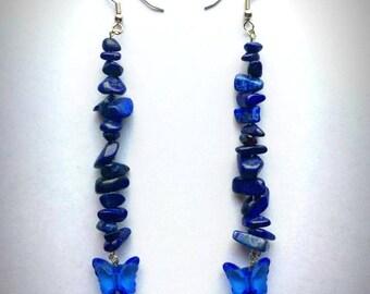 Lapis Lazuli Chipped Stone Dangle Earrings