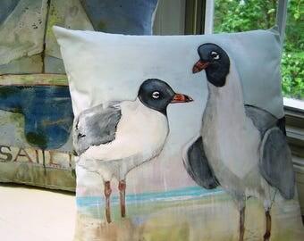 Sea Gull Pair Pillow 16x16 Laughing Gulls on Beach - Hand Painted Original Art - Soft Pastels Seaside Beach House Pillow Accent