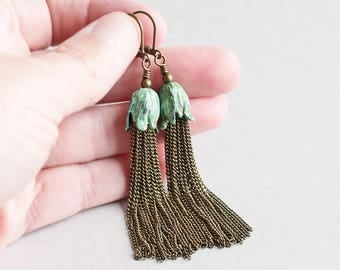 Long Green Patina Tulip Flower Tassel Earrings with Antiqued Brass Chain