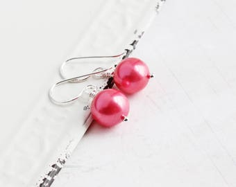 Strawberry Pink Earrings, Genuine Freshwater Pearl Earrings with Sterling Silver Hooks, Real Pearl Jewelry