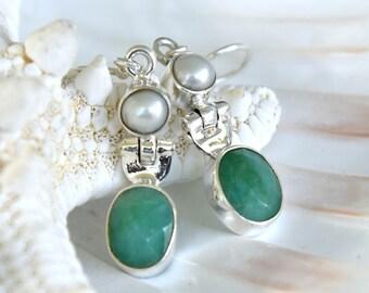 Green Emerald Quartz Earrings