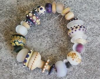 "L'atelier de jacquelina    "" set de 20 perles en verre filé/20 lampwork handmade  '"