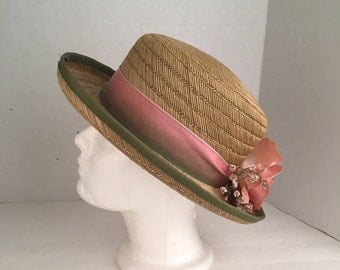 Straw Hat with Flowers and Ombré French Ribbon Woven Raffia Summer Wedding Garden Party Narrow Brim Hat 90s vintage