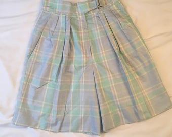 NOS Talbots Pastel High Waist Plaid Golf Shorts 80s Vintage Preppy Pleated Culottes with pockets Skorts