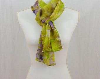 Hand Painted Chiffon Silk Scarf, Chartreuse Green, Lime Green, Purple, OOAK, Boho, Hippie, Festival Clothing, Abstract Scarf, Gift for her