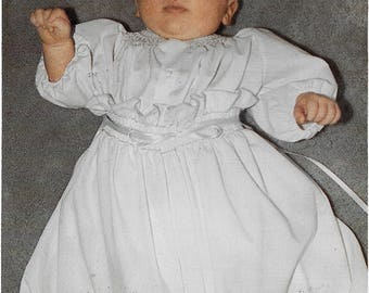 Smocked Christening Gown Baby  Bundle of Joy Size Infant.  Pattern by Special Request Vintage 1984