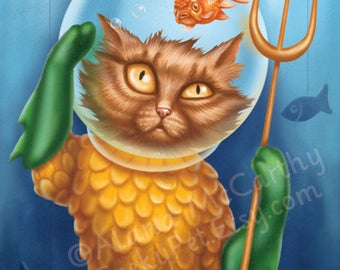 Aquacat - 8x10 art print - Aquaman as a cat stuck in a fishbowl with a goldfish