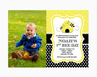 Bumble Bee Birthday Party Invitation, Bee-Day Invitation, Yellow, Black, 1st Birthday, Honey Bee, Printable or Printed