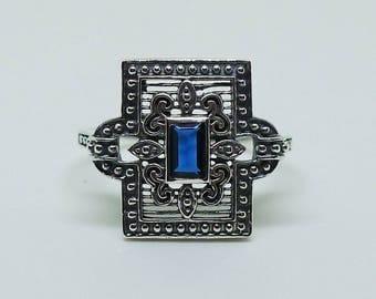 Art Deco Style Sterling Silver and Sapphire Ring Size 8 / Gatsby Victorian Edwardian Bohemian Boheme Flapper Gypsy Erte September Birthstone