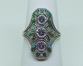 Stunning Amethyst and Australian Opal Sterling Silver Ring Size 8 // Art Deco Art Nouveau Victorian Vintage Bohemian Birthstone Ring Boho
