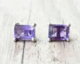 Small Stud Earrings, Purple Amethyst Natural Gemstone Earrings, Minimalist Sterling Silver Unisex Studs, Everyday Earrings for Men