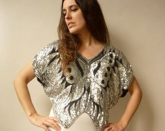 1980's Vintage Butterfly Heavily Beaded & Sequin Deco Flapper Top